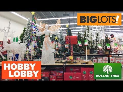 BIG LOTS HOBBY LOBBY DOLLAR TREE CHRISTMAS DECOR DECORATIONS SHOP WITH ME SHOPPING STORE WALKTHROUGH