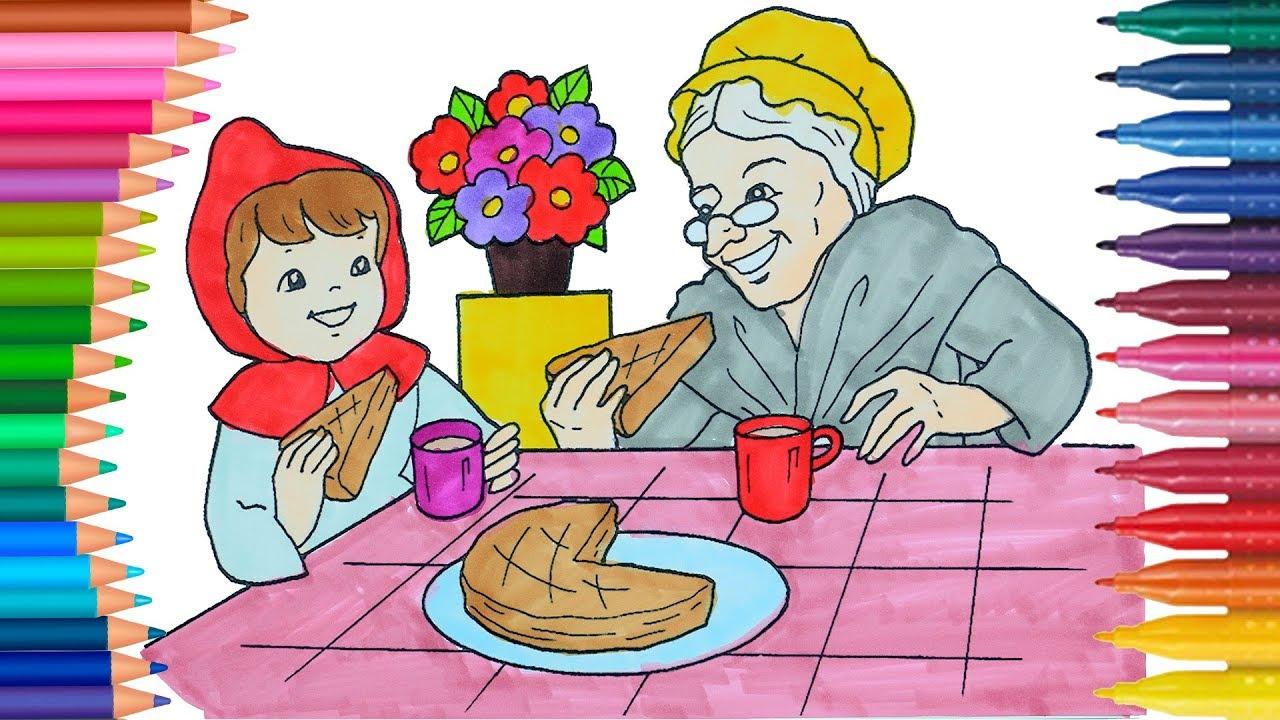 Caperucita Roja de pintar   Cómo dibujar y colorear   Dibujos para ...