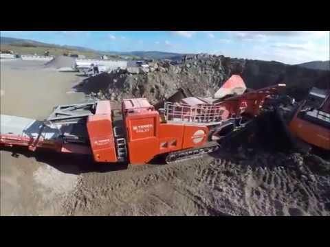 Работа роторной дробилки Terex Finlay I 140 в  карьере Quarry