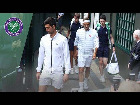 Roger Federer And Novak Djokovic Walk Onto Centre Court For Wimbledon 2019 Final
