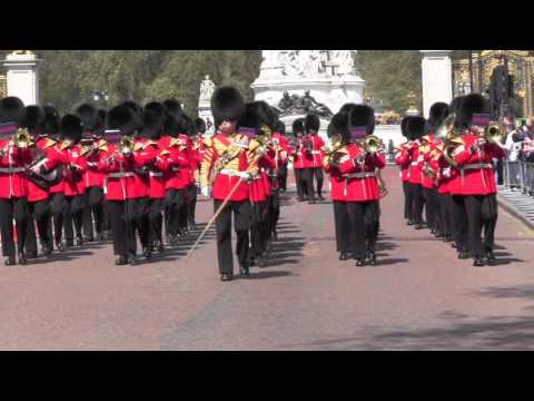 Changing the Guard: Tourist Runs for Selfie, Band of the Welsh Guards, April 18, 2015