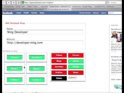 The Ning Application for FaceBook