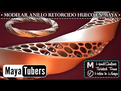 Modelar Anillo Retorcido Hueco en Autodesk Maya - HardSurface  Paramétrico Voronoi - MayaTubers