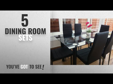 Top 10 Dining Room Sets [2018]: STUNNING GLASS BLACK DINING TABLE SET AND 6 FAUX LEATHER CHAIRS…
