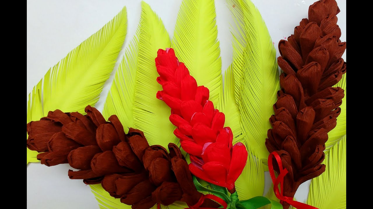 Diy how to make easy crepe paper pine cone flower 76 youtube mightylinksfo