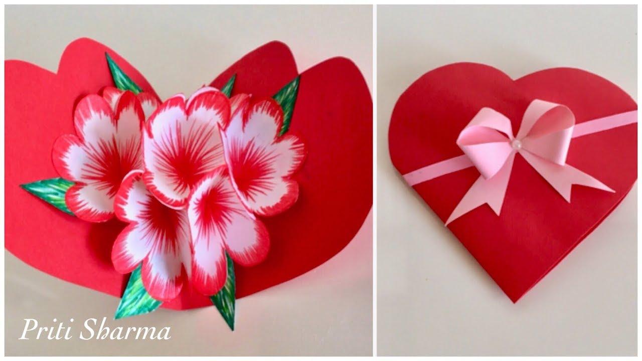 Diy 3d Paper Flower Pop Up Card Tutorial Handmade Heart Shape