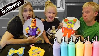 3 COLOR PANCAKE ART CHALLENGE!! Hello Neighbor, Spongebob, and Jojo Siwa Bows!!