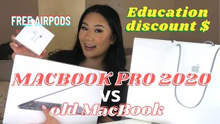 UNBOXING MACBOOK PRO 2020 | Comparing with OLD MacBook | APPLE EDUCATION DISCOUNT FREE AIRPODS