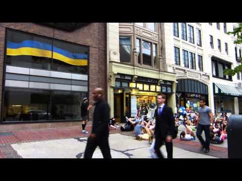 Boston Marathon bombing site visit, 2013 1 month later.