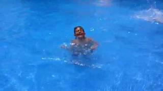 My kids in pool 2016 Majorca hotel