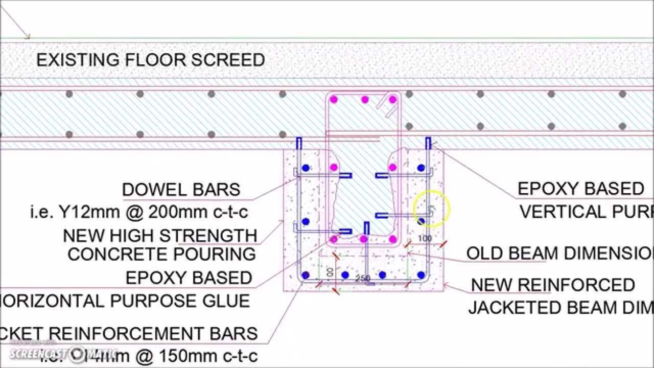 Reinforced Concrete Slab Beam Jacketing Details Youtube