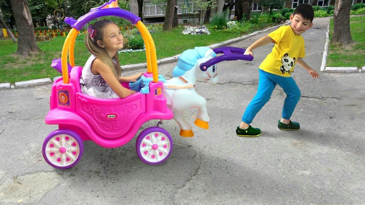 Sasha Pretend Play With Ride On Horse Toy Youtube