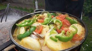 Рыба Форель на мангале с овощами (хапама). Рецепт от Жоржа