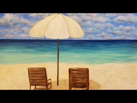 Easy Seascape Beach Chairs & Umbrella LIVE Acrylic Painting Tutorial