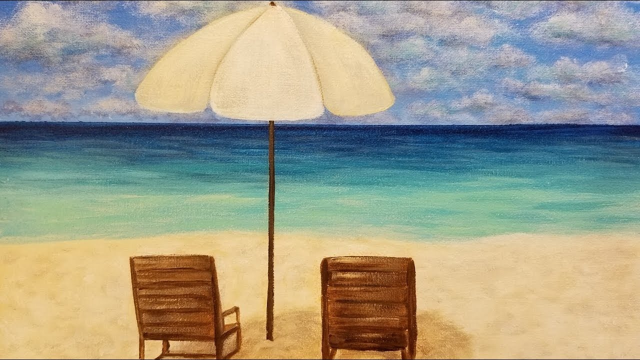 13904fdf73 Easy Seascape Beach Chairs & Umbrella LIVE Acrylic Painting Tutorial