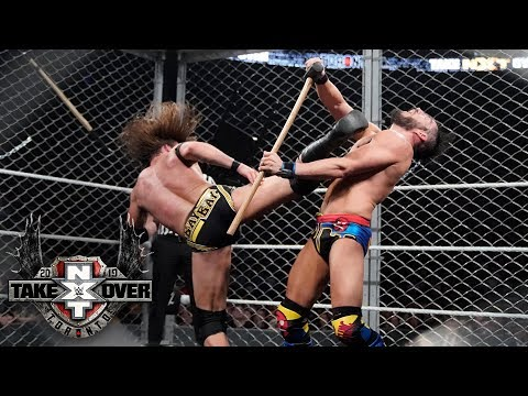 Adam Cole superkicks the sledgehammer out of Johnny Gargano's hands: TakeOver: Toronto