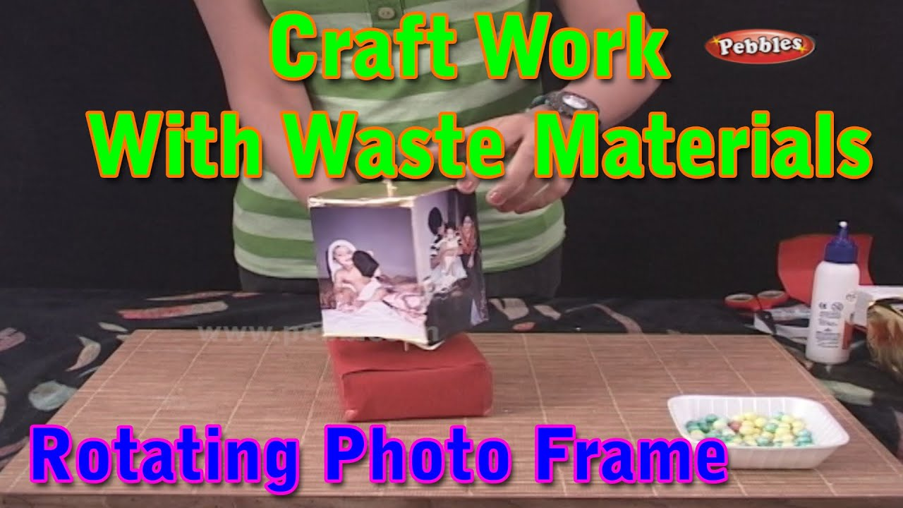 Rotating photo frame craft work with waste materials for Craftwork from waste