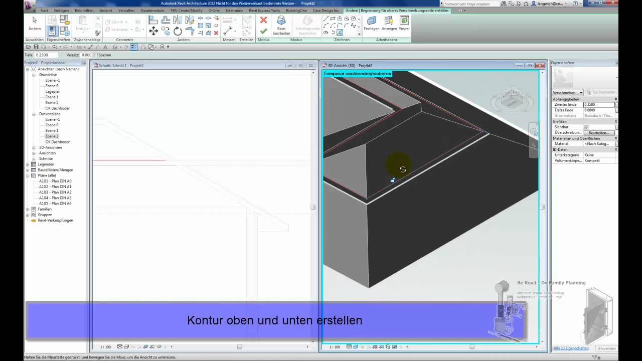 Fußboden In Revit ~ Revit 2012 dachboden mittels sacrificial element methode youtube