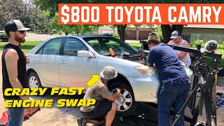 Swapping The ENGINE In The $800 Toyota Camry Flip In 3 HOURS?