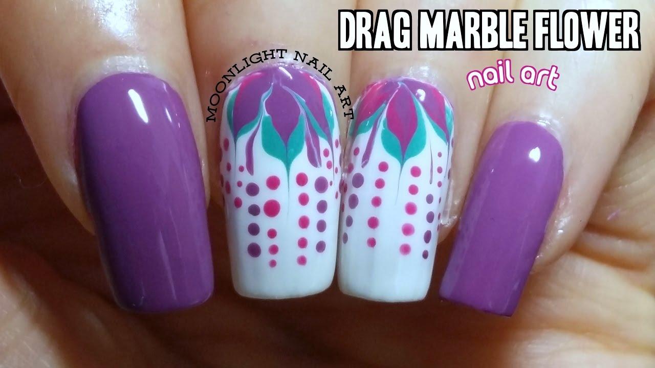 Easy Drag Dry Marble Flower Nail Art Tutorial Youtube