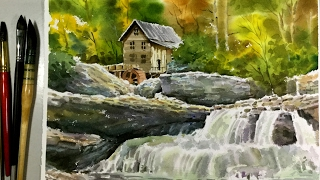 Watercolor Painting Old Mill Wallpaper No.02