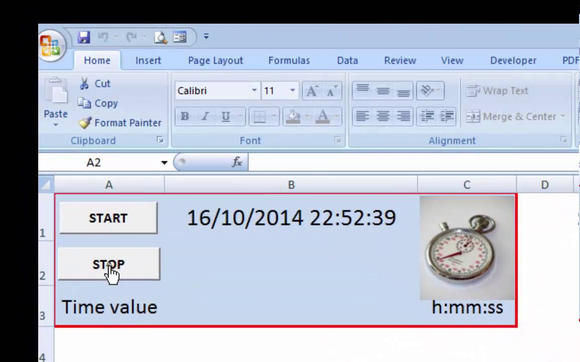 Excel StopWatch Template from AccountancyTemplates com