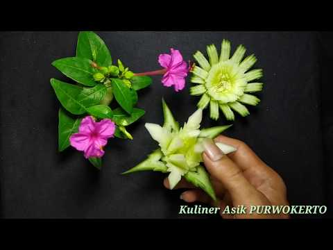 TIPS - Membuat Garnish Bunga Dari Timun   Vegetable Carvings   Hiasan Tumpeng