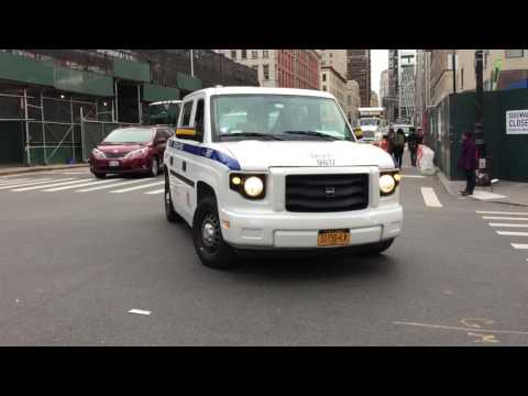 NY & NJ PORT AUTHORITY EMERGENCY SERVICES UNIT TAKING UP FROM A CALL IN TRIBECA, MANHATTAN, NYC.