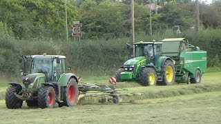 Raking & Baling Grass for Silage with 2 McHale Fusions & 2 Rakes with JDs and Fendts - 2017