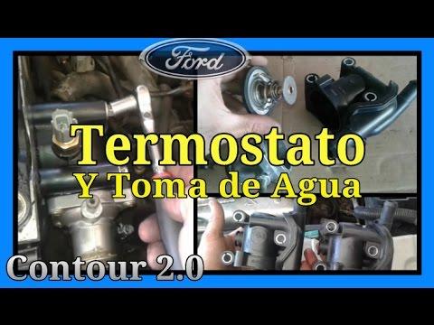 Toma de agua y termostato ford contour 2 0 youtube for Toma de agua
