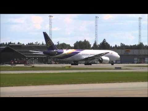 Thai Airways B777-2D7ER HS-TJR Taxi to RWY 01L and Takeoff from Gardermoen