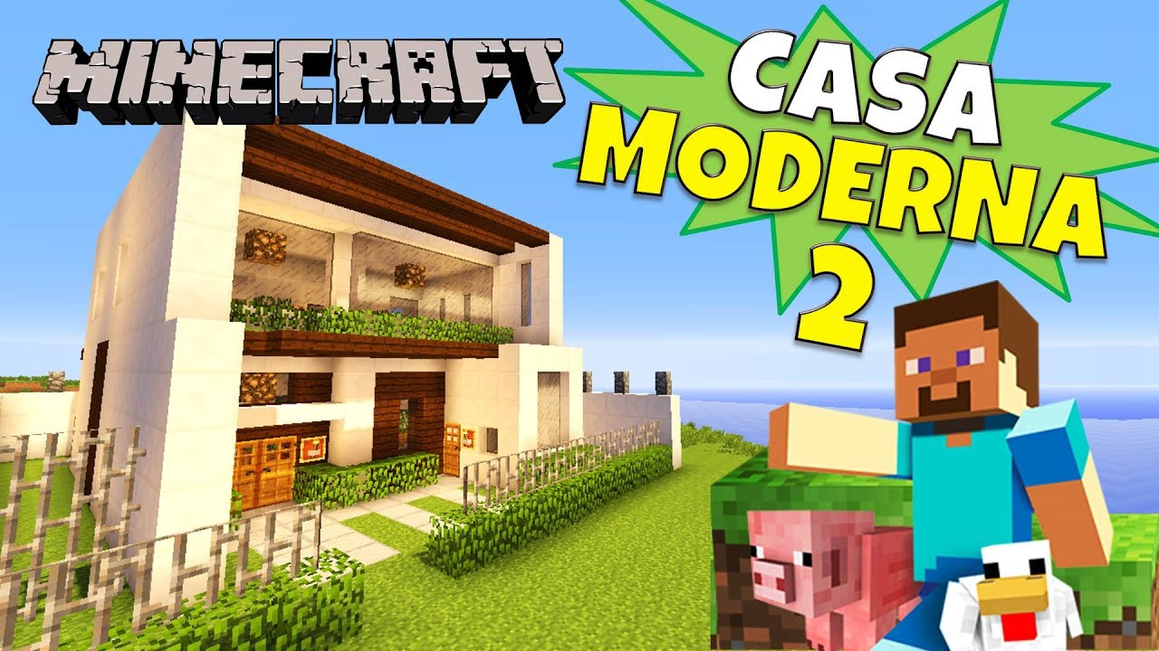 Minecraft nueva casa moderna super tutorial youtube for Casa moderna 2 minecraft