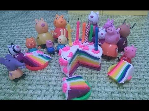 Bajka Świnka Peppa po polsku. Tęczowy tort urodzinowy Peppy
