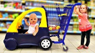 Кукла Беби Бон Настя и Юля в супермаркете Baby doll Nastya and Yulya doing shopping