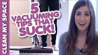 5 Vacuuming Tips that SUCK! (AKA Learn how to Vacuum!) Easy Vacuuming Ideas (Clean My Space) Thumbnail