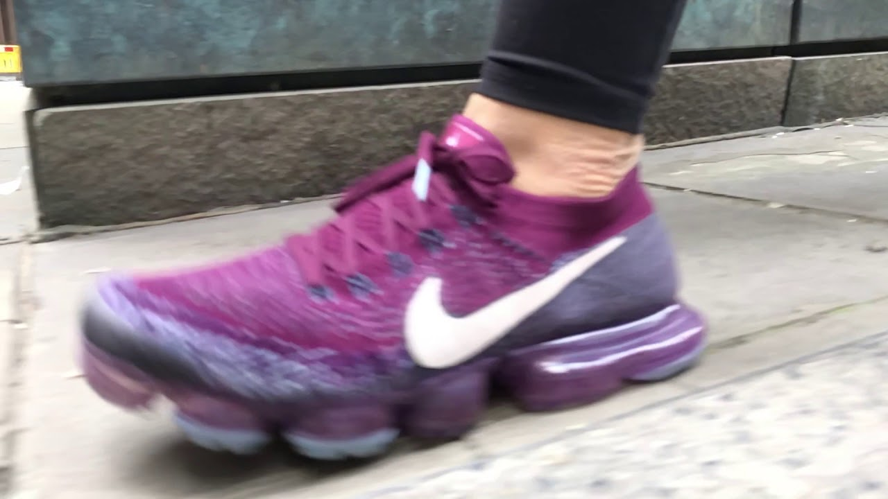 ee4a9b923d57 Women s Nike Lab Air VaporMax Flyknit (Bordeaux Desert Sand College Navy)  Slow-Mo