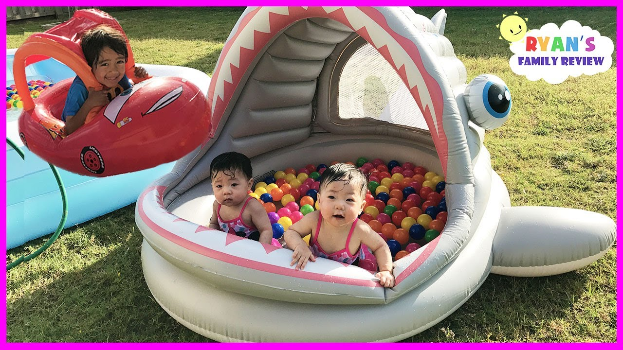 Babies and Kids Family Fun Shark Pool Time with Color ...