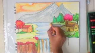 beautiful scenery drawing for kids