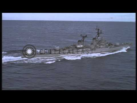 USS Destroyer Turner Joy 951 and USS aircraft carrier ship Constellation (CVA-64)...HD Stock Footage