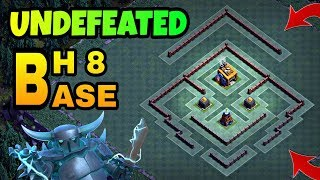 UNDEFEATED BUILDER HALL 8 BASE LAYOUT WITH REPLAY | BH8 BEST TROPHY BASE | CLASH OF CLANS