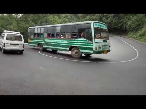 Ooty Hills - Bus And Omni/Car Crossing 4/7 Hairpin Bend Kotagiri To Mettupalayam Road