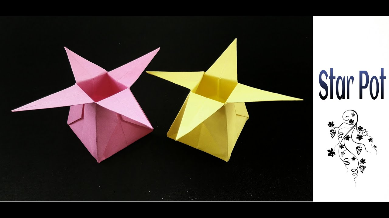 Origami paper star flower box pot container youtube mightylinksfo