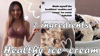 Healthy COOKIES & CREAM ice cream? Easy DIY homemade dessert! 2 Ingredients only!! ✨BEST✨ / OppServe