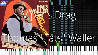 "🎹 Viper's Drag, Thomas ""Fats"" Waller, Synthesia Piano Tutorial"