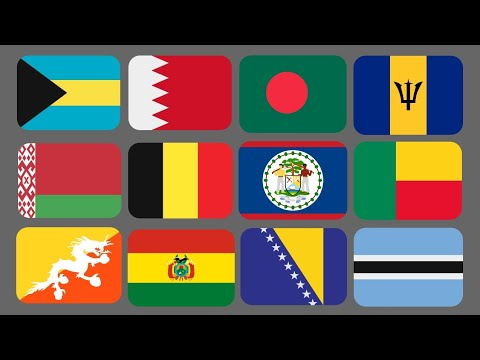 Flags on a Globe B, All countries starting with B, World Flags Part 2