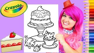 Coloring Kitty & Puppy Birthday Cake Crayola Coloring Page Prismacolor Pencils   KiMMi THE CLOWN