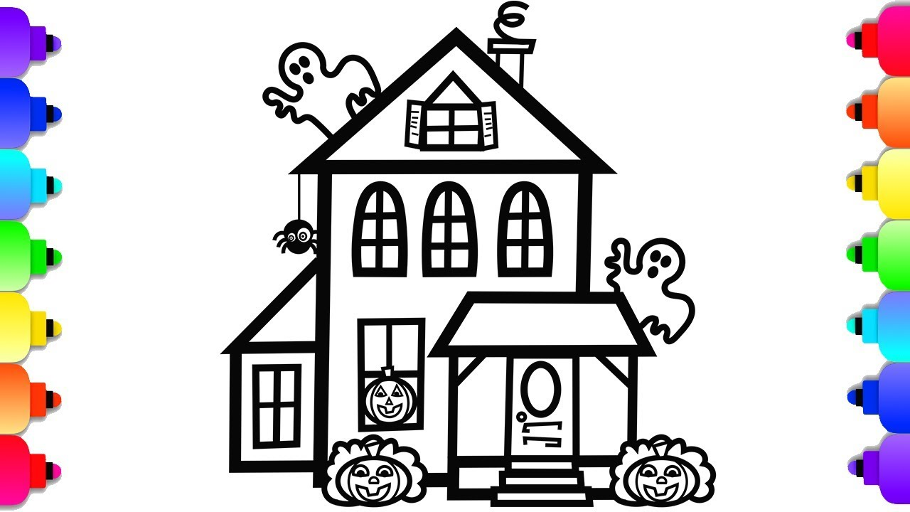 How To Draw A Halloween Haunted House Simple Art Halloween Coloring Pages Youtube