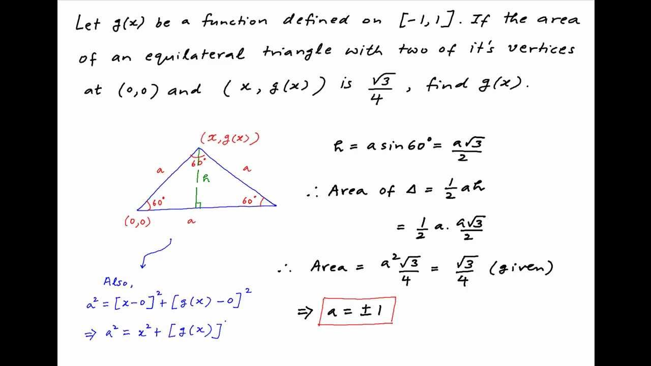 Find gx if area of equilateral triangle with two vertices at 0 find gx if area of equilateral triangle with two vertices at 00 and xgx is sqrt34 ccuart Choice Image