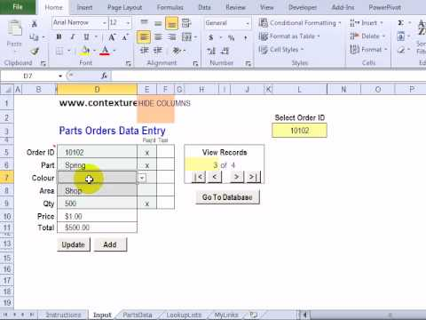 Customize the Excel Worksheet Data Entry Form - YouTube