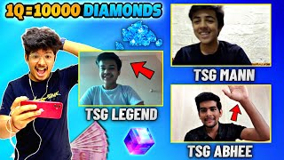 1 Q = 10000 Diamonds Game With Legend , Mann & Abhee || Free Fire Easy Vs Hard Questions - Free Fire